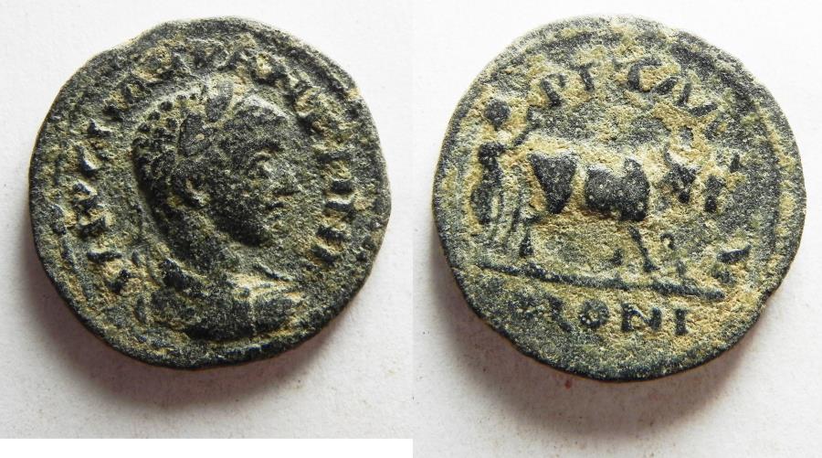 Ancient Coins - CHOICE QUALITY: DECAPOLIS, Petra. Elagabalus. AD 218-222. Æ 22