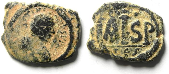 Ancient Coins - JUSTINIAN I AE 1/2 FOLLIS , SCARCE