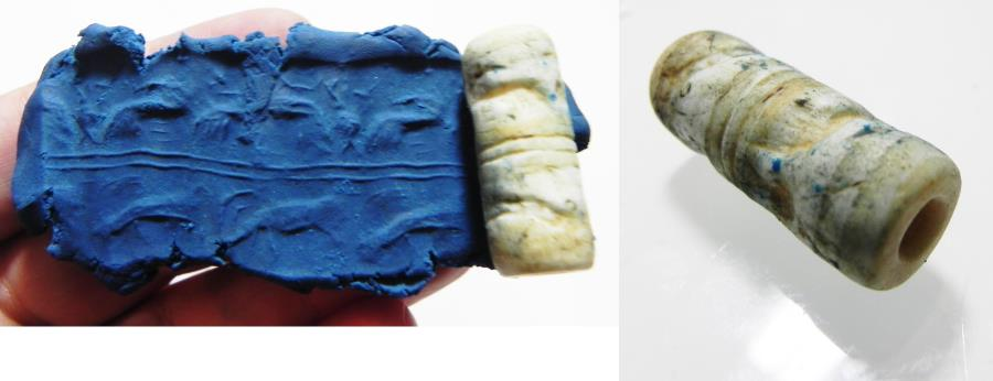 Ancient Coins - ANCIENT NEAR EASTERN STONE CYLINDER SEAL. 2200 - 1900 B.C
