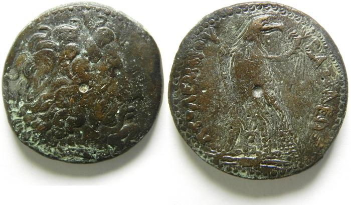 Ancient Coins -   PTOLEMAIC KINGDOM , PTOLEMY IV LARGE AE 37