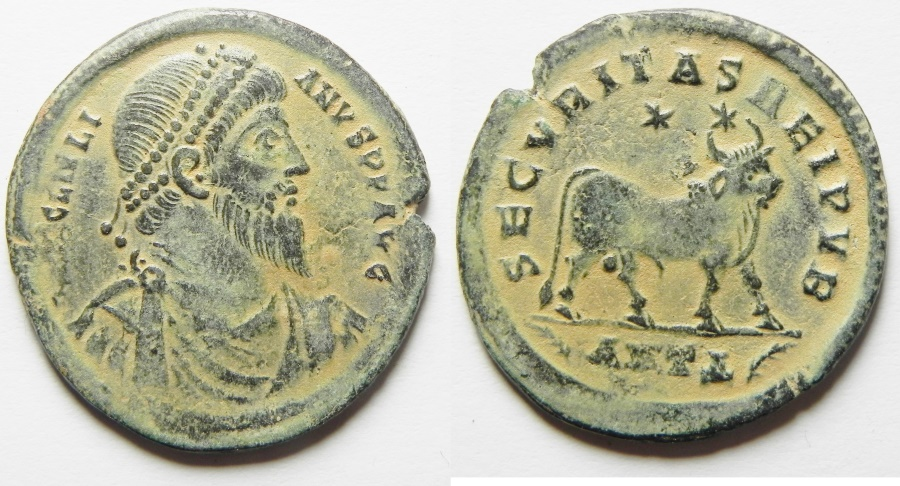 """Ancient Coins - ROMAN IMPERIAL. Julian II """"the Apostate"""" (AD 360-363). AE 1 (29mm, 7.72g). Antioch mint, fourth officina"""