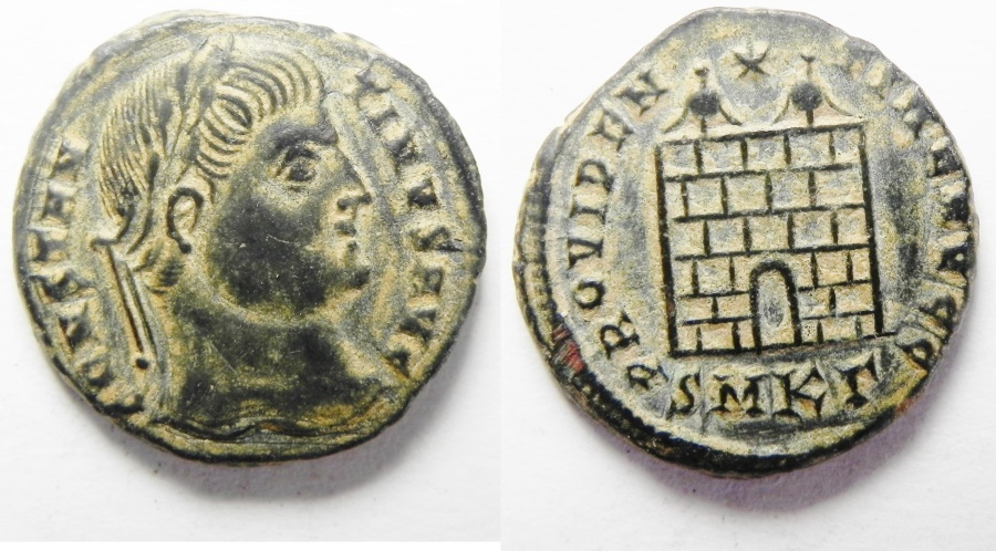Ancient Coins - BEAUTIFUL CONSTANTINE THE GREAT AE 3 , CAMP GATE, DESERT PATINA