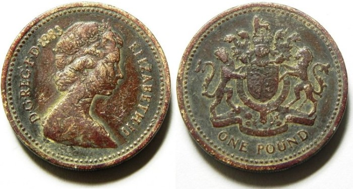 Ancient Coins - ONE BRITISH POUND , 1983
