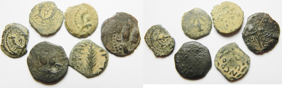 Ancient Coins - JUDAEA. LOT OF 6 AE PRUTOT