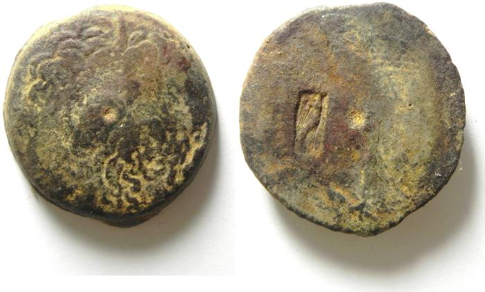 Ancient Coins - PTOLEMAIC KINGDOM , AFFORDABLE AE 36 , COUNTERMARKED , 39.82 GM