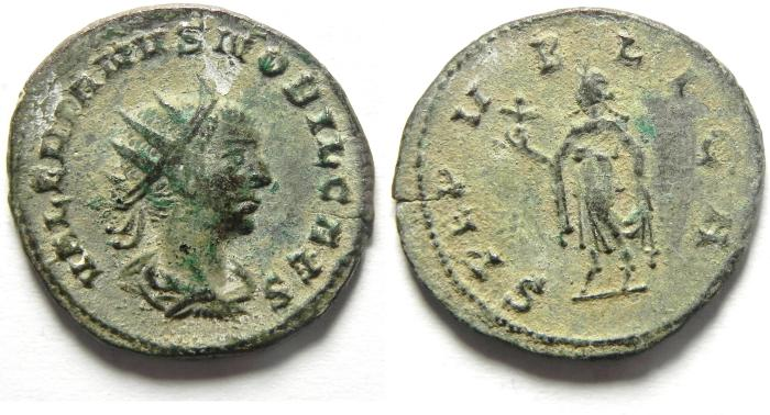 Ancient Coins - VALERIAN II BILLON ANTONINIANUS , CHOICE AS FOUND , VERY RARE