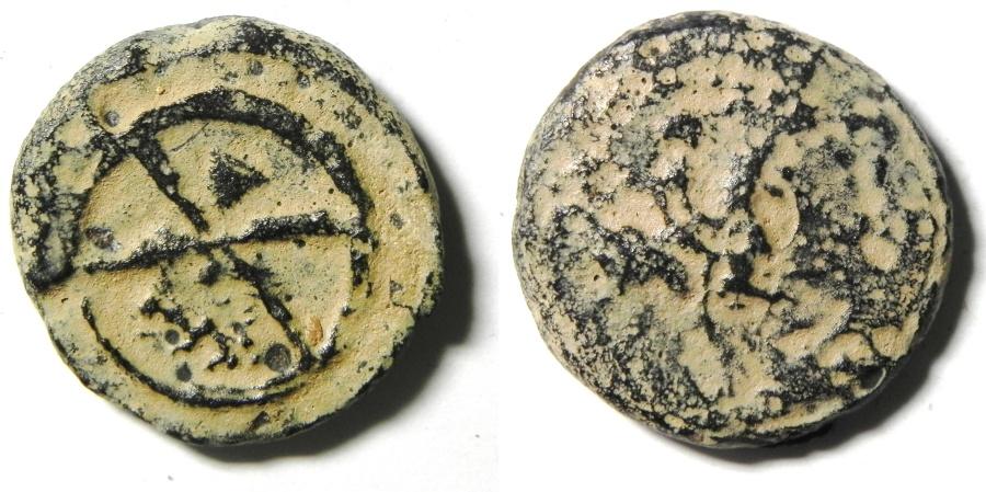 Ancient Coins - CYRENE - LIBYA , 3RD CENT. B.C , AE 20 , WHEEL & HORSEMAN