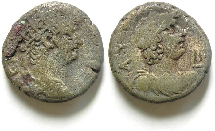 Ancient Coins - NERO . 54-68 AD. Silver Tetradrachm, 24mm. Alexandria in Egypt.
