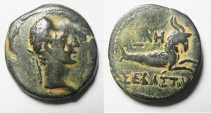Ancient Coins - Egypt. Alexandria under Augustus. AE diobol (24mm, 9.54g). Struck in regnal year 38 (AD 8/9).