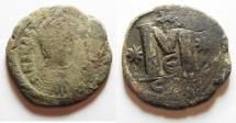 Ancient Coins - JUSTINIAN I AE FOLLIS