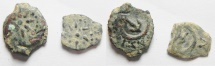 Ancient Coins - Judaea, Alexander Jannaeus, 103-76 BC, A Pair of AE Leptons or Widow's Mite coins