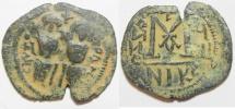 Ancient Coins - SLAMIC. Umayyad Caliphate. Pre-Reform period (AH 41-77 / AD 661-669) AE fals. Arab-Byzantine series. Scythopolis (Beysan) mint.