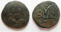 Ancient Coins - BYZANTINE . TIBERIUS II CONSTANTINE AE FOLLIS