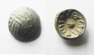 Ancient Coins - Arabia Felix. MDN BYN. King of Saba. Himyarites. 60 - 100 A.D. Scyphate AR Fractional Unit. VERY RARE