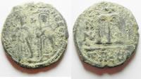 Ancient Coins - BYZANTINE. PHOCAS AE FOLLIS. CHOICE QUALITY AS FOUND
