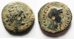 Ancient Coins - PTOLEMAIC EMPIRE. CYRENE , PTOLEMY V AE21 , WITH LIBYA ON REVERSE