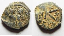 Ancient Coins - BYZANTINE EMPIRE. JUSTIN II & SOPHIA BRONZE HALF FOLLIS