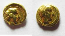 Ancient Coins - GREEK. Kyrenaika. Kyrene. AV litra or 1/10 stater (7mm, 0.83g). Struck c. 331-322 BC.