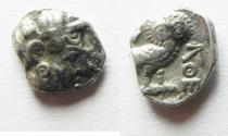 Ancient Coins - ARABIA, Southern. Saba'. Late 4th–mid 2nd centuries BC. AR tmrt – Quarter Unit (12mm, 1.15 g). Imitating Athens.