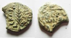Ancient Coins - AS FOUND: JUDAEA. Porcius Festus Procurator under Nero AE Prutah. 58/59 C.E.