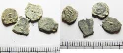Ancient Coins - JUDAEA. LOT OF 4 AS FOUND BIBLICAL WIDOW'S MITE COINS