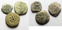 Ancient Coins - LOT OF 3 AS FOUND  : Judaea, Alexander Jannaeus, 103-76 BC, AE Prutah (Biblical Widow's Mite).