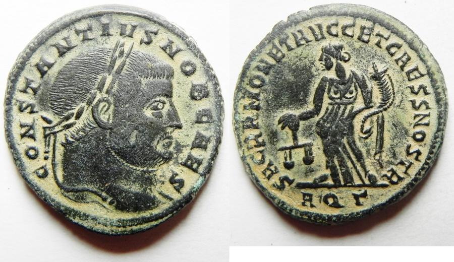 Ancient Coins - Amazing Bust: Constantius I. As Caesar Æ Follis. Aquileia