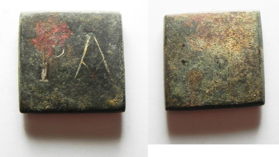 Ancient Coins - ANCIENT HOLY LAND. ROMAN BRONZE WEIGHT WITH SILVER INLAY. 300 A.D