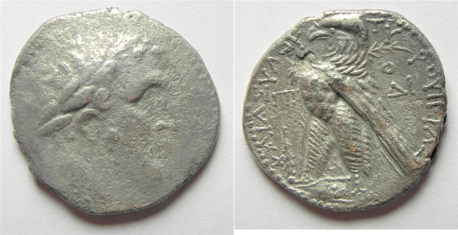 Ancient Coins - 30 Pieces of Silver: Phoenicia. Tyre. AR tetradrachm (27mm, 12.96g). Struck in civic year 88 (39/8 BC).