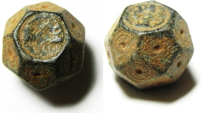Ancient Coins - ISLAMIC , UMMAYED OR ABBASID BRONZE WEIGHT , 14.36 GM = 5 DERHAMS , DECORATED & PROBABLY INSCRIBED
