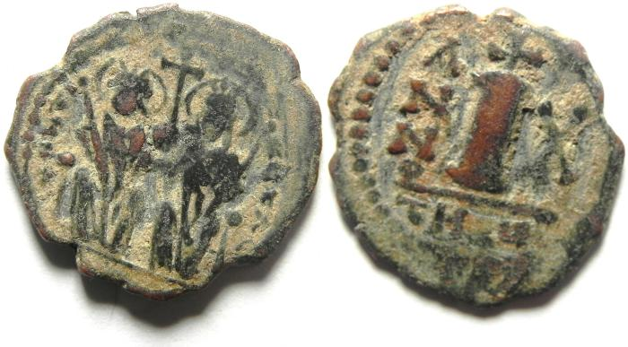 Ancient Coins - BYZANTINE , JUSTINE II & SOPHIA , DECANUMMIUM OF ANTIOCH