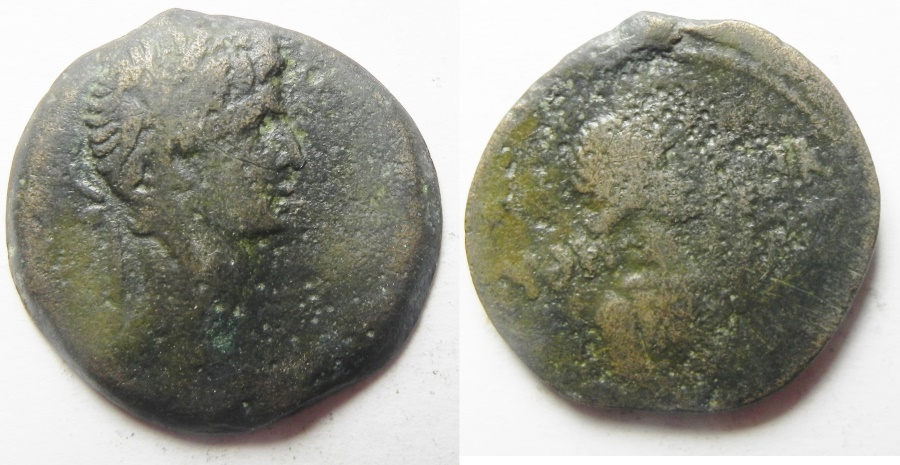 Ancient Coins - Egypt. Alexandria under Augustus (27 BC-AD 14). AE diobol (24mm , 7.61g). VERY rare with Euthenia