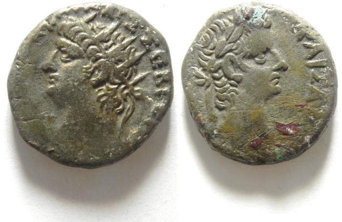 Ancient Coins -  EGYPT , ALEXANDRIA , NERO BILLON TETRADRACHM , NICE . TIBERIUS