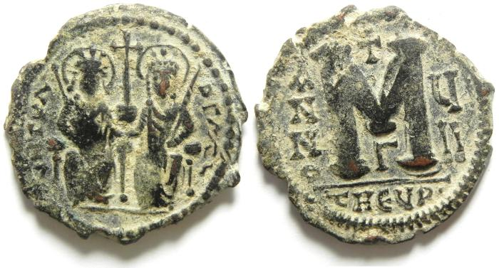 Ancient Coins - BEAUTIFULL BYZANTINE FOLLIS OF ANTIOCH , JUSTIN II & SOPHIA