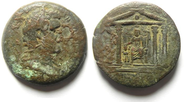 Ancient Coins - EGYPT , ALEXANDRIA , Antoninus Pius. AD 138-161. Æ Drachm , SERAPIS SEATED IN TEMPLE