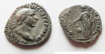 Ancient Coins - Overstruck on a royal Nabatean drachm: Arabia Petraea. Bostra under Trajan (AD 98-117) AR drachm (20mm, 1.65g).