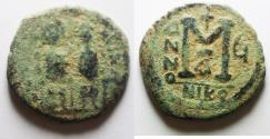 Ancient Coins - Justin II with Sophia, 565 - 578 AD, AE Follis