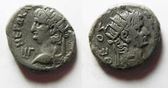 Ancient Coins - EGYPT. ALEXANDRIA. NERO BILLON TETRADRACHM. WITH AUGUSTUS
