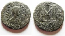 Ancient Coins - BYZANTINE. Justinian I (AD 527-565). AE follis.  Carthage mint. Struck 534-539.