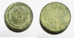 """Ancient Coins - ANCIENT LATE ROMAN/ BYZANTINE BRONZE WEIGHT. 400 - 700 A.D  WITH """"NB"""" = 2 NUMISMATA"""