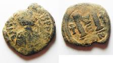 Ancient Coins - BYZANTINE. JUSTIN I AE FOLLIS.