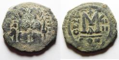 Ancient Coins - ORIGINAL DESERT PATINA. BYZANTINE. JUSTIN II & SOPHIA AE FOLLIS