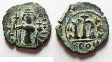 Ancient Coins - ISLAMIC, Time of the Rashidun. Pseudo-Byzantine types. Circa AH 11-55 / AD 632-675. Æ Fals