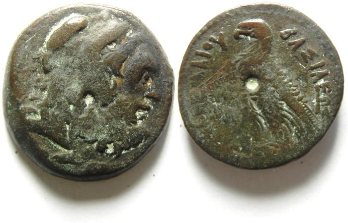 "Ancient Coins -  PTOLEMY VI ""PHILOMETOR"" - 180 - 145 B.C , Æ24 , BEARDED HERAKLES , VERY SCARCE TYPE!!!"