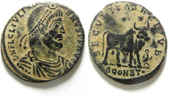 Ancient Coins - JULIAN II THE APOSTATE AE1 centenionalis , BEAUTIFULL DESERT PATINA