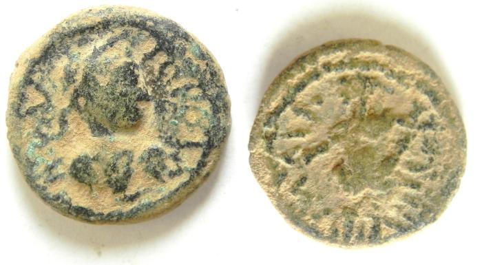 Ancient Coins - Roman Provincial. Judaea, Raphia under Gordian III, AD 238-244. AE 19 , EXTEREMLY RARE COIN , CHOICE QUALITY AS FOUND!!