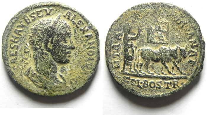 Ancient Coins - Provincial. AE 31mm. Arabia. Bostra. Under Severus Alexander (AD 222-235). Very Rare large coin!!!!!!