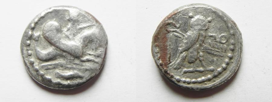 Ancient Coins - GREEK. Phoenicia. Tyre. 'Ozmilk (Azemilkos) (c. 349-310 BC). AR shekel (20mm, 8.34g). Struck in regnal year 15 (c. 335/4 BC).