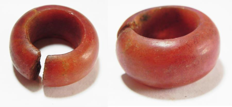 ANCIENT EGYPT, 18TH DYNASTY, CARNELIAN HAIR RING  1400 B C NEVER HANDLED  THIS SIZE BEFORE!!! HUGE!