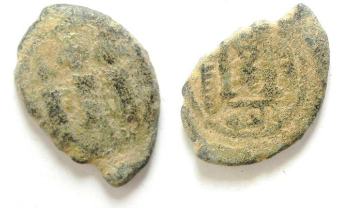 World Coins - Arab-Byzantine. AE fals. 28mm, 4.88g. Beisan (Nysa-Scythopolis) ,fals , Al Haq , Bebaisan , very rare!!